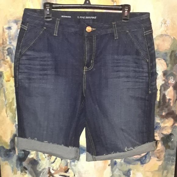 27ba827425b Lane Bryant Pants - Lane Bryant dark wash cut off shorts